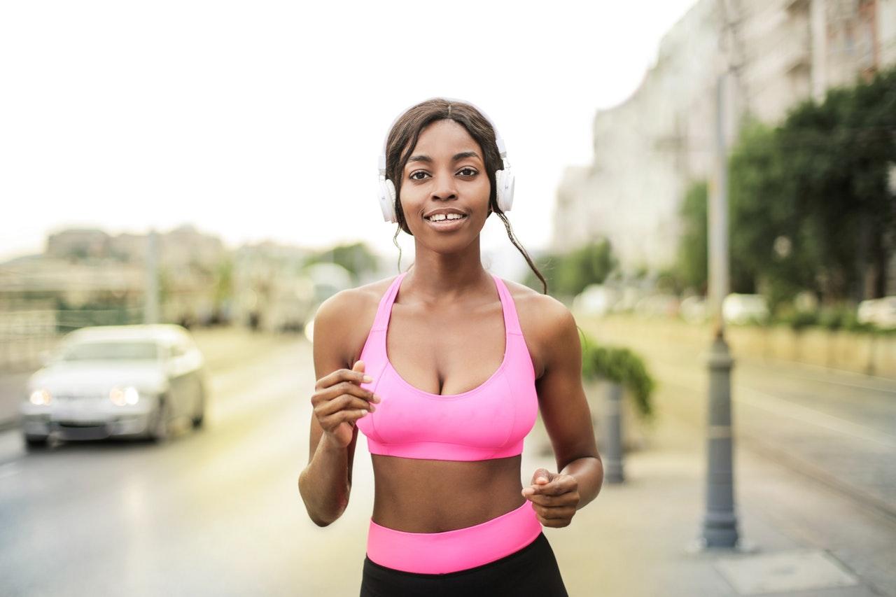 woman in pink bra